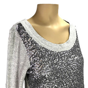 J. Crew Sequin Long Sleeve Top~Heathered Gray